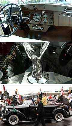 No interior, sofisticação e muita qualidade. Sobre o radiador, mulher alada cromada. Presidente Lula e a primeira-dama, Marisa, desfilam no Rolls-Royce conversível - Cristina Horta/EM - 29/12/06 - Gustavo Moreno/CB - 1/1/07 (inferior)