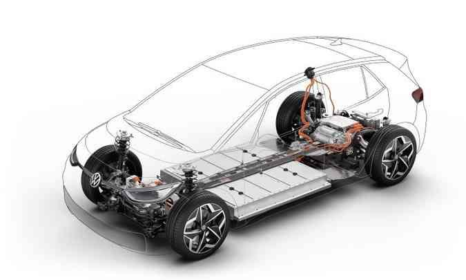 Construídos sobre a plataforma MEB, os modelos da família ID têm a bateria sob o assoalho(foto: Volkswagen/Divulgação)