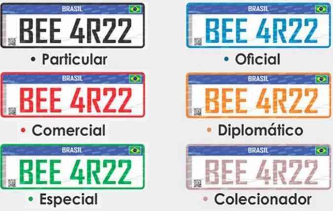 As cores do código mudam de acordo com a categoria do veículo(foto: Detran/Divulgacao)