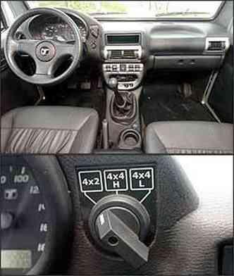 Aro do volante é muito fino e relação de direção muito indireta. Engate do sistema de tração é por meio de botão no painel