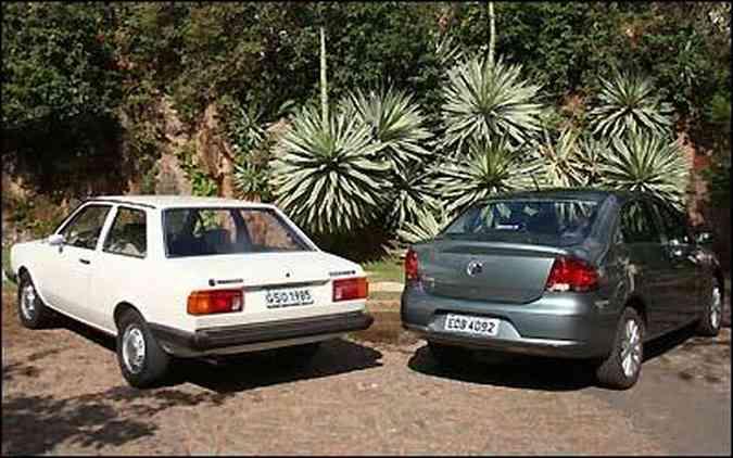 Evolução da espécie: lado a lado, é nítida a evolução do Volkswagen Voyage nas duas gerações
