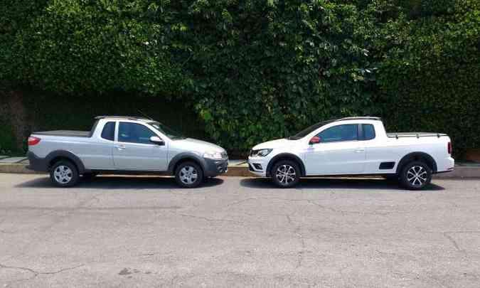 Ambas têm carroceria com cabine estendida, sendo que o modelo VW conta com degrau na lateral(foto: Pedro Cerqueira/EM/D.A Press)