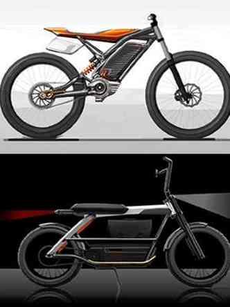 ...alguns com design futurista, mas que lembram mais uma bicicleta(foto: Harley-Davidson/Divulgação)