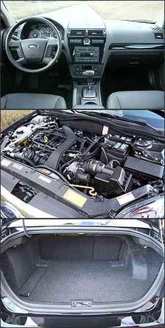 Painel tem acabamento com material emborrachado de boa qualidade e desenho moderno. Motor 2.3 16V tem 162 cv. Já o porta-malas tem boa profundidade e abertura.