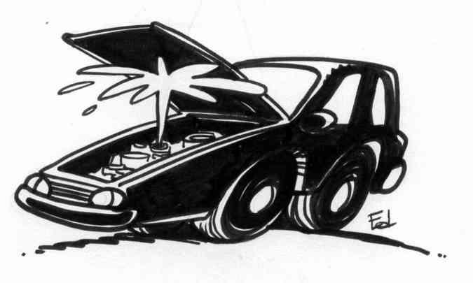 Se o motorista não cuida bem do carro, no calor ele pode ferver e até fundir o motor(foto: Ilustração/Ed)