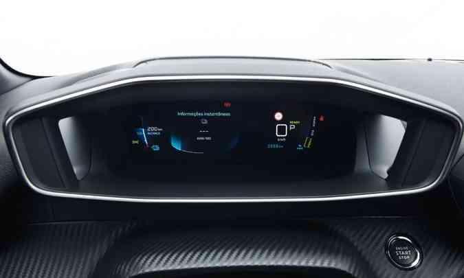 No painel o motorista tem acesso à autonomia do modelo e outras informações do sistema elétrico(foto: Peugeot/Divulgação)