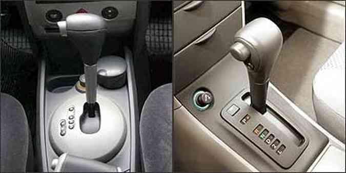 Câmbio da perua Mégane se adapta à maneira de dirigir do motorista. Perua Toyota tem câmbio simples e não dispõe de recursos eletrônicos(foto: Mégane: Marlos Ney Vidal/EM - 5/1/07 / Fielder: Eduardo Rocha/RR - 4/6/04)