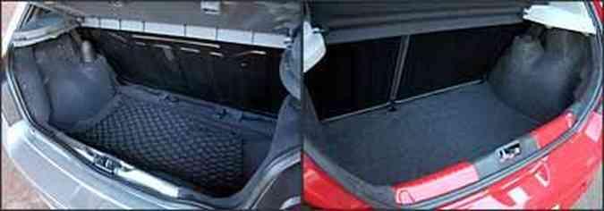 Porta-malas do Palio é maior e tem abertura interna. Já o do Gol (vermelho) é fundo e exige esforço para manusear bagagem(foto: Gol: Marlos Ney Vidal/EM/D. A Press - 18/7/08)