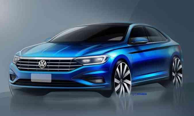 O novo Volkswagen Jetta vai chegar um pouco maior e mais sofisticado (foto: Volkswagen/Divulgação)