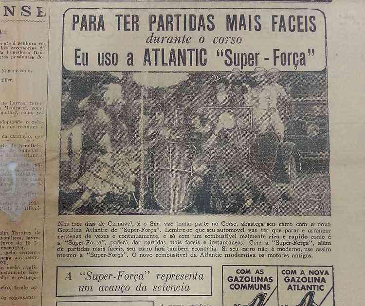 Anúncio do jornal Estado de Minas em 1935 explorava o corso -