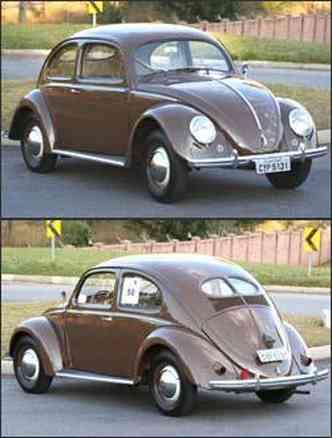 Volkswagen Sedan da década de 1950 tem pára-choque mais fino e pára-brisa menor. Na traseira, o detalhe marcante é o vidro bipartido, além das pequenas lanternas.(foto: Fotos: Marlos Ney Vidal/EM - 7/8/06)