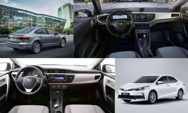 Colagem com fotos de divulgação da Volkswagen e Toyota