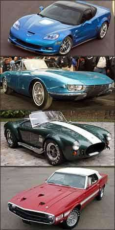 Corvette ZR1 2009, Chevrolet Corvette Rondine 1963, Shelby Cobra 1967 e Shelby Mustang GT 500 1969 -