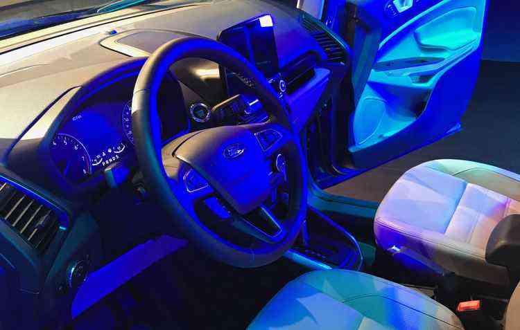 Interior do veículo é a grande atração com a nova tela de 8 polegadas sensível ao toque, conectada com o sistema multimídia SYNC 3, compatível com o Apple Car Play e Android Auto - Jorge Moraes/DP