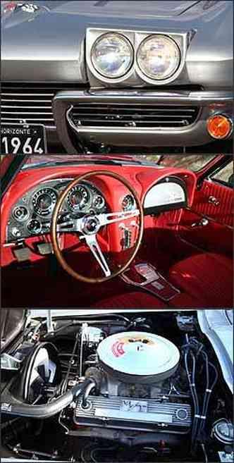 Comando elétrico abre os faróis. Já o interior tem revestimento em couro vermelho, painel com instrumentos redondos e volante fino. Motor é o original 327 de 365 cv.