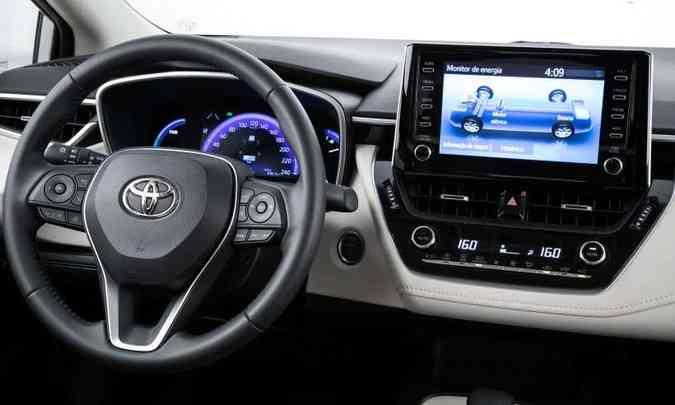 A versão híbrida tem tela de sete polegadas no quadro de instrumentos(foto: Toyota/Divulgação)