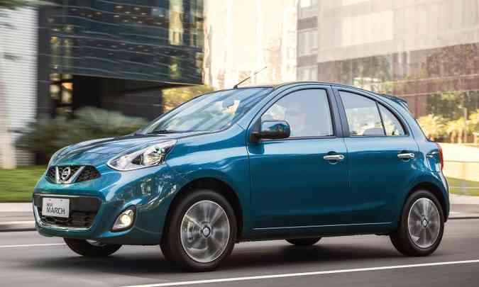 O mais caro entre os hatches de entrada é o Nissan March 1.0 S, por R$ 44.990(foto: Nissan/Divulgação)