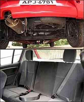 Estepe em posição ruim sob porta-malas. Falta apoio de cabeça central traseiro(foto: Marlos Ney Vidal/EM - 17/1/08)