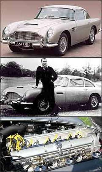DB5, lançado de 1963, com motor de 286 cv de potência e câmbio manual de cinco marchas, fez sucesso nos filmes do agente 007, estrelado por Sean Connery. O motor do DB5 fazia o modelo alcançar 230 km/h(foto: Aston Martin/Divulgação - Redprodução da Internet/www.dn.no - 26/12/06 - Redrodução da Internet/www.atspeedimages.com - 26/12/06)
