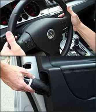 Caixa automatizada permite trocas no volante. A perua tem detalhes interessantes, como o porta-guarda-chuvas na porta