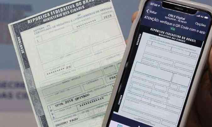 O dono do carro pode optar por imprimir o documento em papel comum ou usar o CRLV-e(foto: Governo Federal/Divulgação)