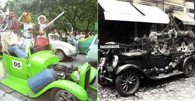 Desfile de carros antigos no carnaval 2005 e corso em BH nos anos 1920 - Beto Magalhaes/Estado de Minas - 30/01/2005  e  Igino Bonfioli/EM. Brasi