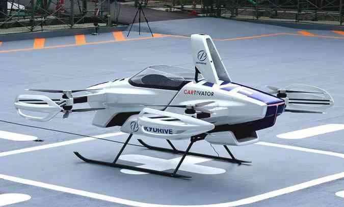 Protótipo é um monoposto cuja base de pouso é parecida com a de um helicóptero(foto: Sky Drive/Divulgação)