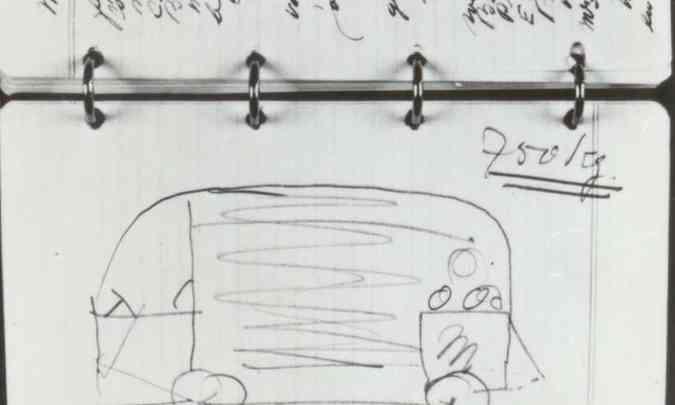 Esboço original da Kombi na agenda de Ben Pon(foto: Volkswagen/Divulgação)