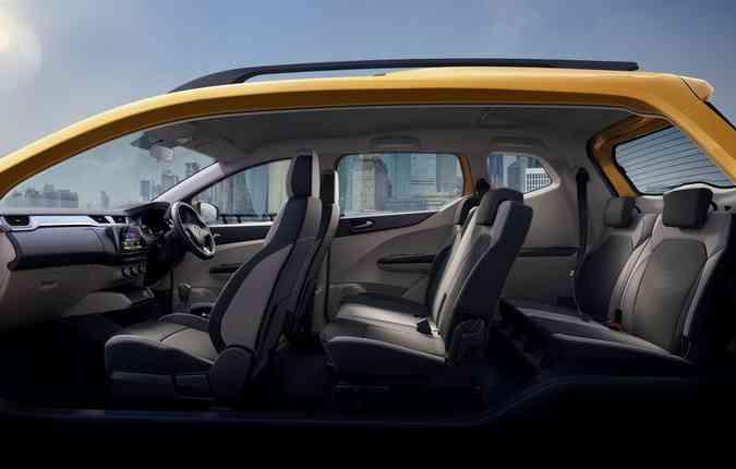 Com capacidade para sete pessoas, o Triber permite o rebatimento dos bancos. Foto: Renault/ Divulgação