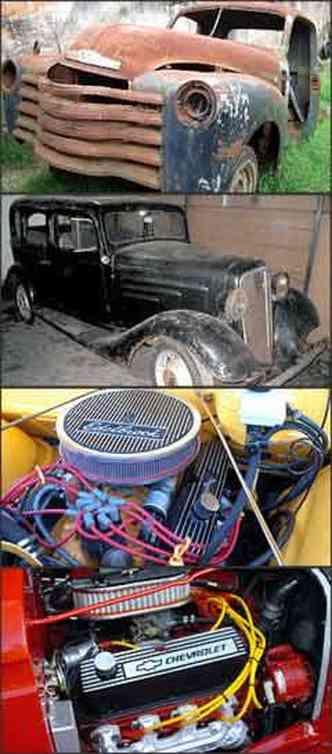 Picape foi garimpada em dezembro de 2004. Depois, o sedã foi achado abandonado. Motor V8 de cinco litros equipa os dois modelos. É o mesmo do Ford Mustang, que rende 220 cv