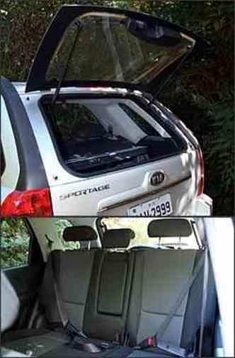 Vidro da tampa traseira abre, facilitando acesso ao porta-malas. Atrás falta apenas o cinto de segurança central de três pontos