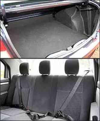 Encosto fixo do banco limita porta-malas. Banco traseiro acomoda três adultos com conforto de carro grande(foto: Marlos Ney Vidal/EM - 14/2/08)