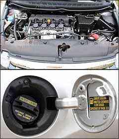Motor ficou 2 cv mais fraco com gasolina. Assim como no Fit, o reservatório do sistema de partida a frio fica no lado direito do pára-lamas -