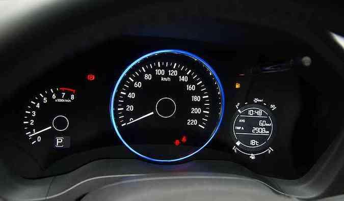 Anel circular do HR-V fica verde quando o motorista 'pisa leve' (foto: Thiago Ventura/EM/D.A Press)
