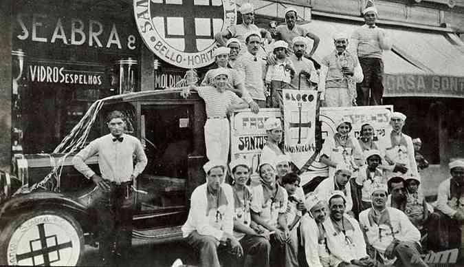Carnaval 1917: algumas empresas da capital organizavam seus próprios blocos(foto: Arquivo EM)