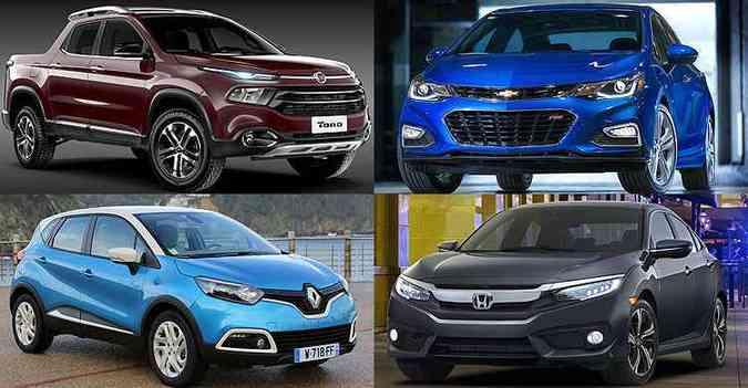 Vários lançamentos vão agitar o universo automotivo em 2016(foto: Fiat, GM, Renault e Honda/Divulgação)