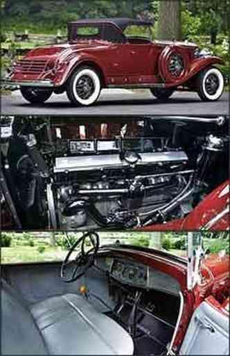 Além das belas formas, modelo tem o segundo assento na traseira, o chamado banco da sogra. Propulsor de 16 cilindros em V era um dos destaques do roadster americano, que tinha bom desempenho. Acabamento sofisticado no interior, com revestimento em couro