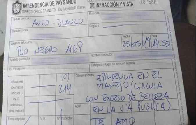 Infração registrada pelo agente de trânsito uruguaio. Foto: Reprodução/El Telégrafo