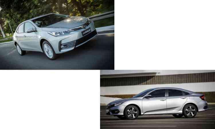 Colagem com fotos de divulgação da Toyota e Honda