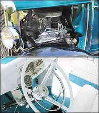 Propulsor V8 <b>(acima)</b> proporcionava desempenho esportivo para o modelo Ford. Painel mantém instrumentos originais e volante com aro cromado