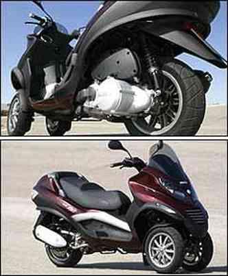 Os propulsores são acoplados à roda traseira. O MP3 HyS tem comportamento dinâmico, igual aos scooters tradicionais