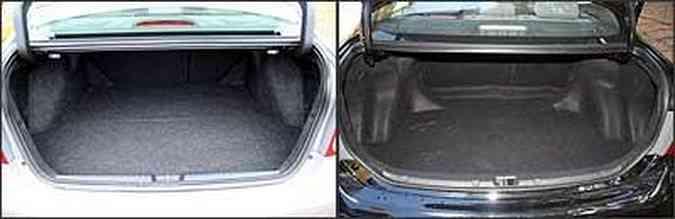 Porta-malas do Civic é o menor do segmento, enquanto o do Corolla tem boa capacidade(foto: Marlos Ney Vidal/EM/D.A Press - 1/2/07 e 10/6/08 )