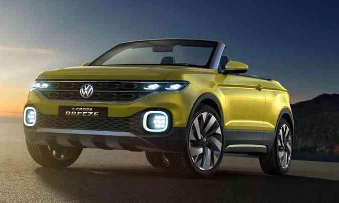 O conceito T-Cross Breeze, apresentado em 2016, já revelava as linhas do utilitário-esportivo(foto: Volkswagen/Divulgação)