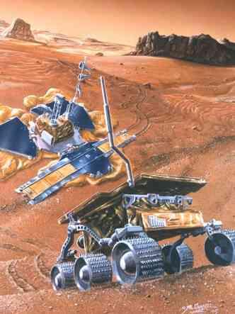 Ilustração mostra a Sojourner deixando a estação Pathfinder, em Marte(foto: Nasa/Divulgação)