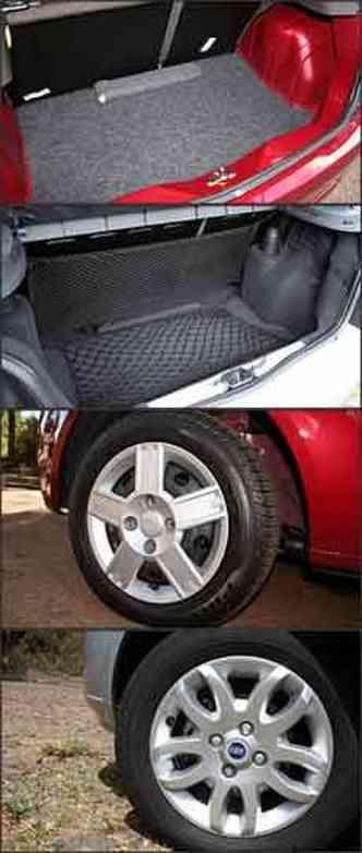 Porta-malas do hatch compacto da Ford tem volume um pouco maior. No Palio, porta-malas tem rede e acabamento de melhor qualidade. Roda do Fiesta em aço com calota e a do Palio de liva leve, mas como item opcional