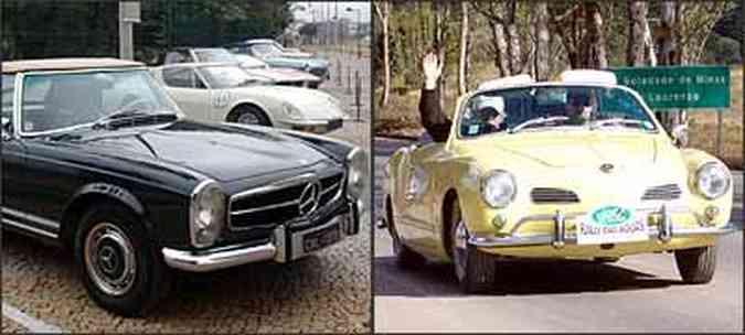 Na posição de largada, europeus, nacionais e norte-americanos. No primeiro dia, vários os carros, como o Karmann Ghia amarelo conversível