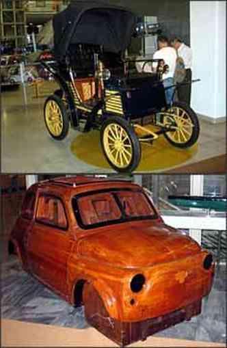 Versão torpedo do primeiro modelo da marca italiana produzido em série no fim do século 19. Molde em madeira do Fiat 500 é uma das atrações da mostra