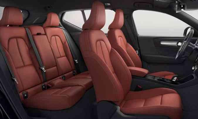 A versão mais cara pode ter acabamento interno com revestimento em couro vermelho(foto: Volvo/Divulgação)