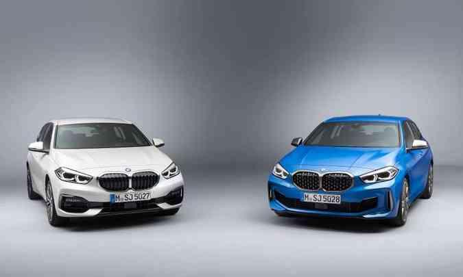 A versão 118i tem grade com barras paralelas verticais, e na M135i é do tipo colmeia(foto: BMW/Divulgação)
