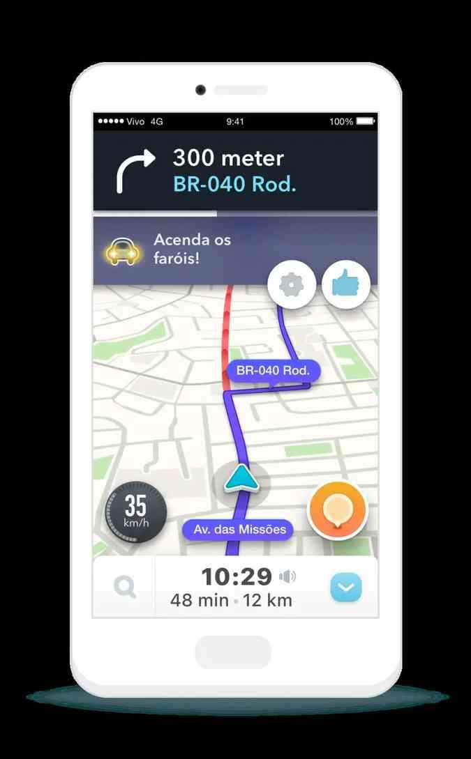O aplicativo Waze alerta os usuários ligarem os faróis quando acessam uma rodovia(foto: Waze/Divulgação)